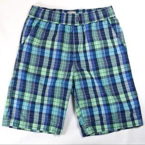 Children's Place Boys Blue Green Plaid Shorts Sz12